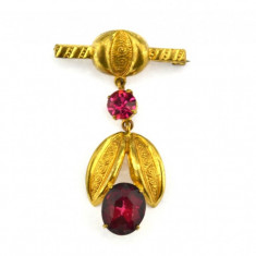 Brosa placata aur, anturaj cristale czech ametiste, model antic edwardian - Brosa placate cu aur