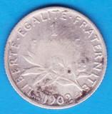 (1) MONEDA DIN ARGINT FRANTA - 1 FRANC 1902, 5 GRAME, PURITATE 832, Europa