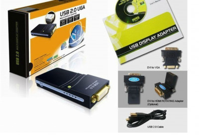 Placa video pe usb, USB 2.0 UGA la DVI VGA HDMI foto