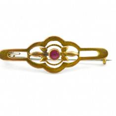 Brosa placata aur, anturaj cristale czech ruby, Art Deco, model antic edwardian - Brosa placate cu aur