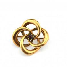 Brosa alama aurita, anturaj cristal czech, Art Deco, Anglia, bijuterie vintage - Brosa placate cu aur