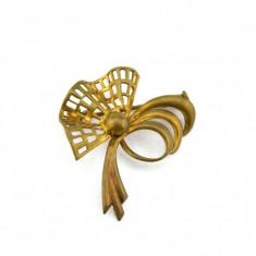 Brosa alama aurita, perioada edwardiana, Art Deco, Anglia, bijuterie antica - Brosa placate cu aur
