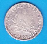 (1) MONEDA DIN ARGINT FRANTA - 1 FRANC 1907, 5 GRAME, PURITATE 832, Europa