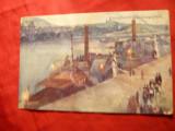 Ilustrata -Pictura- Nave  in Portul Praga pe Dunare, Necirculata