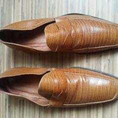 Pantofi Yves Saint Laurent originali, piele naturala, nr.43, superbi. - Pantof barbat Yves Saint Laurent, Culoare: Maro, Eleganti
