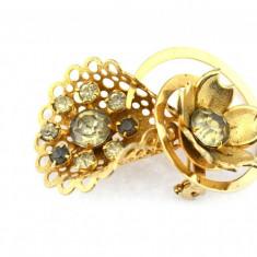 Brosa aurita, anturaj cristale czech, inspiratie Art Nouveau, bijuterie vintage - Brosa placate cu aur