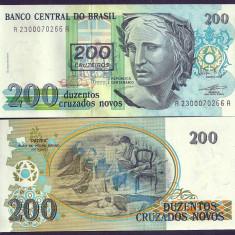 BRAZILIA 200 CRUZEIROS PE 200 CRUZADOS NOVOS 1991 UNC [1] P-225b, necirculata - bancnota america