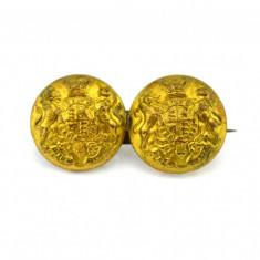 Brosa victoriana, butoni militari originali, poansoane manufactura Birmingham - Brosa placate cu aur