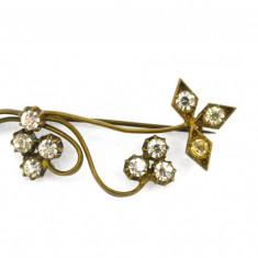 Brosa aurita, anturaj cristale czech, bijuterie antica edwardiana, Art Nouveau - Brosa placate cu aur