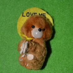 Jucarie plus ursulet LOVE ME, fata plastic, clema, 8 cm - Jucarii plus