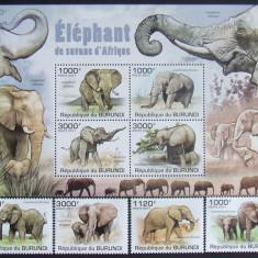 BURUNDI 2011 - ELEFANTI, 4 VALORI SI 1 M/SH, NEOBLITERATE - E0675