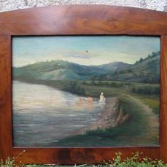1926 G. Constantinescu , Fete la scaldat , tablou vechi , pictura veche