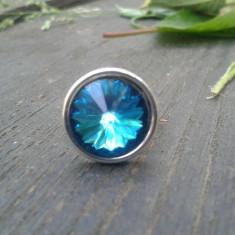 Inel de argint Swarovski diferite culori (Bermuda Blue, Rosu, Tanzanite etc.) - Inel Swarovski