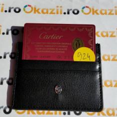 Port carduri de credit CARTIER cod 924, Negru, Port card