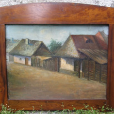 1926 G. Constantinescu , case la tara , tablou vechi , pictura veche