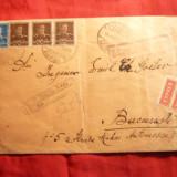 Plic circ.Focsani-Bucuresti, cenzurat, recomandat, 2 etichete Expres 1943