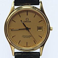 Omega Seamaster Quartz, unisex, Original - Ceas unisex Omega, Placat cu aur, Piele
