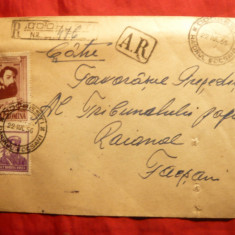 Plic circ.Odobesti-Focsani, stamp.AR in dreptunghi, recomandat Odobesti 1956