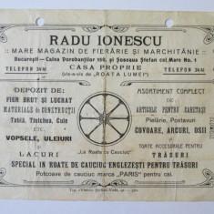 RECLAMA TIPARITA R.IONESCU MAGAZIN DE FIERARIE SI MARCHITANIE 1915