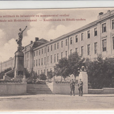SIBIU, MILITARA, SCOALA MILITARA DE INFANTERIE CU MONUMENTUL EROILOR - Carte Postala Transilvania dupa 1918, Necirculata, Printata