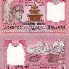 NEPAL 5 rupees ND 1987 UNC!!! - bancnota asia