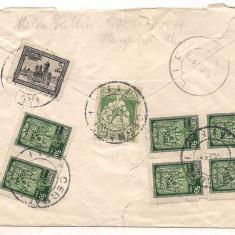 % plic scrisoare-ROMANIA- circulata cu bloc de 4, An: 1922