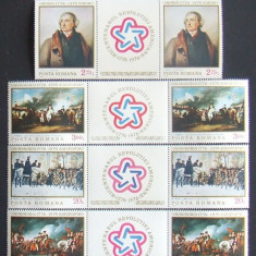 ROMANIA 1976 - BICENTENAR SUA PICTURA 2x6 VALORI CU VIG., NEOBLITERATE - RO 0203
