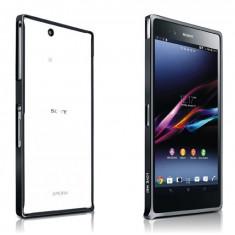 Bumper metal subtire negru LOVE MEI Sony Xperia Z1 L39H + folie protectie ecran