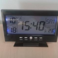 Ceas de birou cu comanda vocala cu termometru - Ceas desteptator