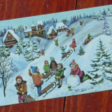 Felicitare de iarna - copii la joaca  ---- perioada comunista  !!!