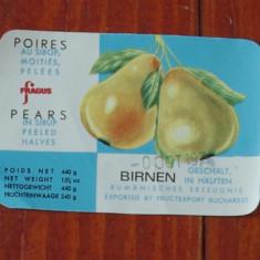 Eticheta - pere in sirop - fructexport Bucuresti ( fragus brand ) anii 70 RSR !