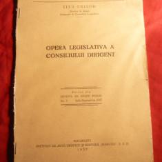 Titu Onisor - Opera Legislativa a Consiliului Dirigent - Ed. Marvan 1937 - Carte Legislatie