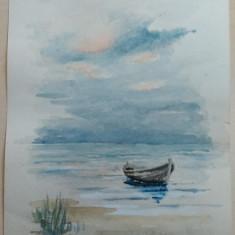 Grafica/ Acuarela pe hartie/ Barca la mal - Tablou autor neidentificat, Marine, Realism