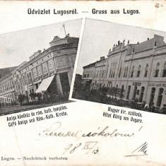 Romania Lugos, carte postala circulata 1898: Cafenea Amigo, Hotel Regal, animat - Carte Postala Banat pana la 1904, Fotografie, Lugoj