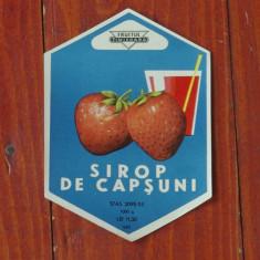 Eticheta - Sirop de capsuni - Fructus Timisoara anii 50 - perioada comunista RPR