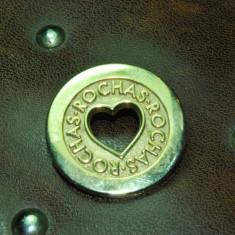 Brose ROCHAS originala, placata cu aur galben model inimioara! - Brosa placate cu aur