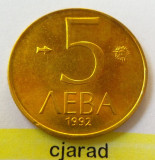 Moneda 5 LEVA - BULGARIA, anul 1992 *cod 1938 --- A.UNC