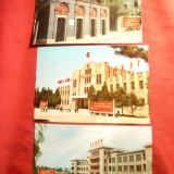 3 Ilustrate - China -cu Drapele comuniste pe cladiri- cca1960, Necirculata, Fotografie