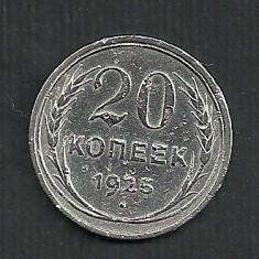RUSIA URSS 20 COPEICI KOPEICI KOPEEK 1925 AG [4] Livrare in cartonas, Europa, Argint