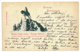 3259 - CLUJ, Matei Corvin, statue, Litho - old postcard - used - 1898