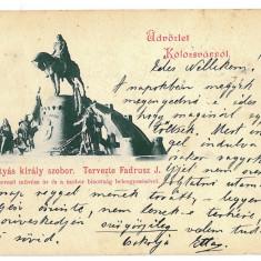 3259 - L i t h o, CLUJ, Matei Corvin statue - old postcard - used - 1898 - Carte Postala Transilvania 1904-1918, Circulata, Printata