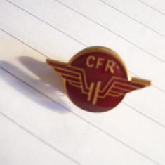 Insigna CFR cu buton, L= 2 cm, metal si email, Europa