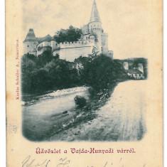 3270 - L i t h o, HUNEDOARA, Castle - old postcard - used - Carte Postala Transilvania 1904-1918, Circulata, Printata