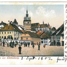 3262 - L i t h o, Mures, SIGHISOARA, Market - old postcard - used - 1903 - Carte Postala Transilvania 1904-1918, Circulata, Printata