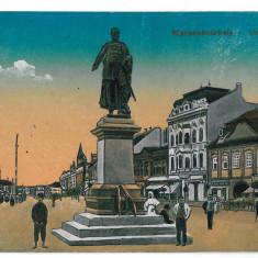 3233 - Mures, TARGU-MURES, Market, Statue - old postcard, CENSOR - used - 1918 - Carte Postala Transilvania 1904-1918, Circulata, Printata