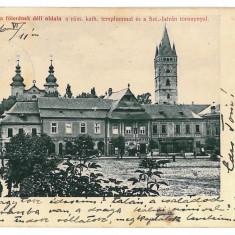 3247 - Maramures, BAIA-MARE, Market and Chatolic CHURCH - old PC - used - 1906 - Carte Postala Maramures 1904-1918, Circulata, Printata