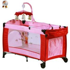 Patut Pliant cu 2 Nivele si Mini-Carusel Sleeper Deluxe Roz - Patut pliant bebelusi BabyGo