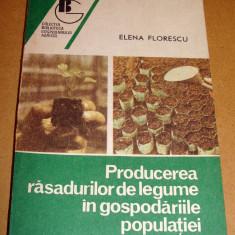 Producerea rasadurilor de legume in gospodariile populatiei - Elena Florescu - Carte Hobby Gradinarit