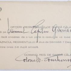 REGIMENTUL DE GARDA CALARE, INVITATIE SEMNATA DE COLONEL VICTOR DOMBROWSKI - Harta Europei