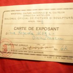 Carte de Expozant pt.Artista Rezeda Moga Dumitrescu, cu semnatura Pictor DARASCU - Autograf